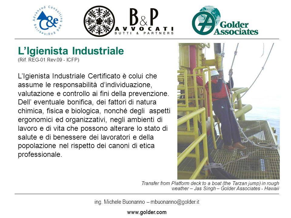 ing. Michele Buonanno – mbuonanno@golder.i t www.golder.com LIgienista Industriale (Rif. REG-01 Rev.09 - ICFP) LIgienista Industriale Certificato è co