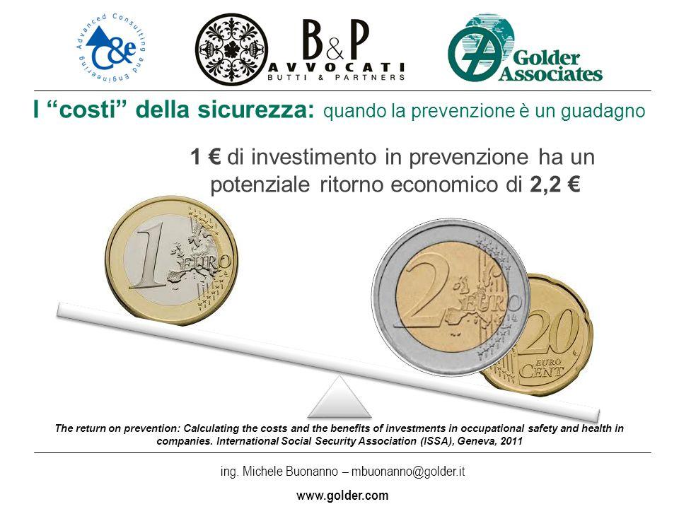 ing. Michele Buonanno – mbuonanno@golder.i t www.golder.com I costi della sicurezza: quando la prevenzione è un guadagno The return on prevention: Cal