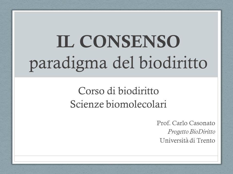 IL CONSENSO paradigma del biodiritto Corso di biodiritto Scienze biomolecolari Prof. Carlo Casonato Progetto BioDiritto Università di Trento