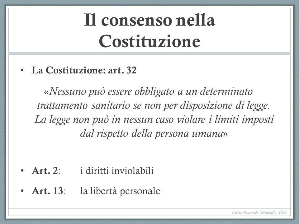 Il consenso nella Costituzione La Costituzione: art. 32 « Nessuno può essere obbligato a un determinato trattamento sanitario se non per disposizione