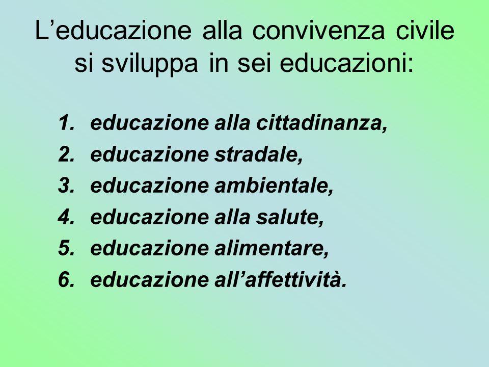 Leducazione alla convivenza civile si sviluppa in sei educazioni: 1.educazione alla cittadinanza, 2.educazione stradale, 3.educazione ambientale, 4.ed