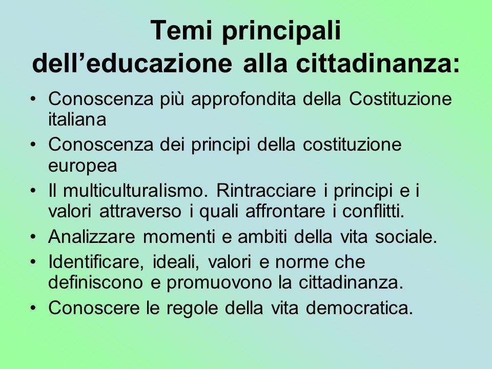 Temi principali delleducazione alla cittadinanza: Conoscenza più approfondita della Costituzione italiana Conoscenza dei principi della costituzione e