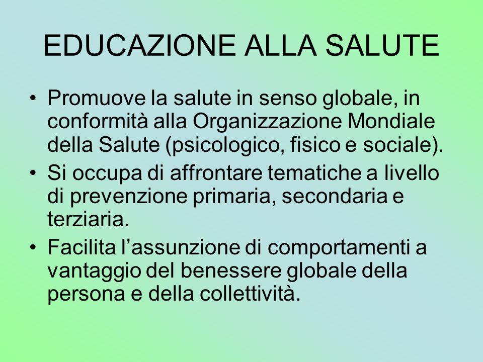 EDUCAZIONE ALLA SALUTE Promuove la salute in senso globale, in conformità alla Organizzazione Mondiale della Salute (psicologico, fisico e sociale). S