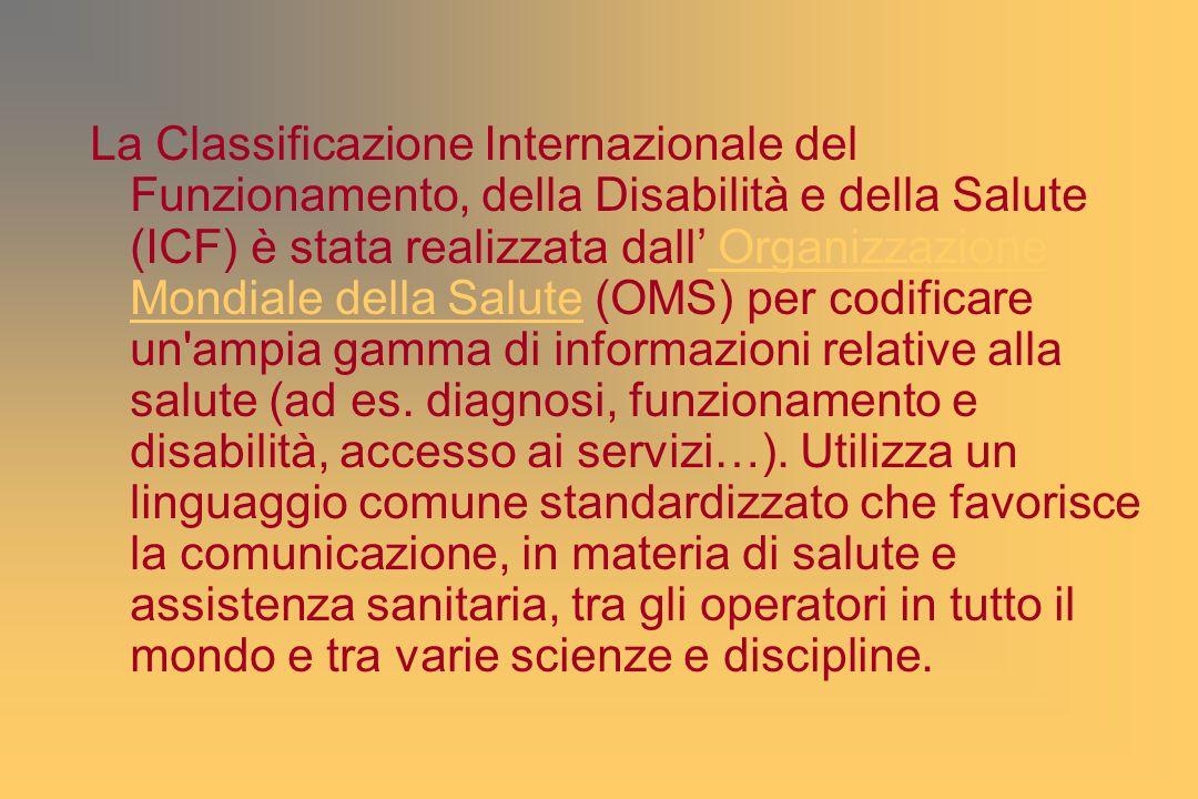 La Classificazione Internazionale del Funzionamento, della Disabilità e della Salute (ICF) è stata realizzata dall Organizzazione Mondiale della Salute (OMS) per codificare un ampia gamma di informazioni relative alla salute (ad es.