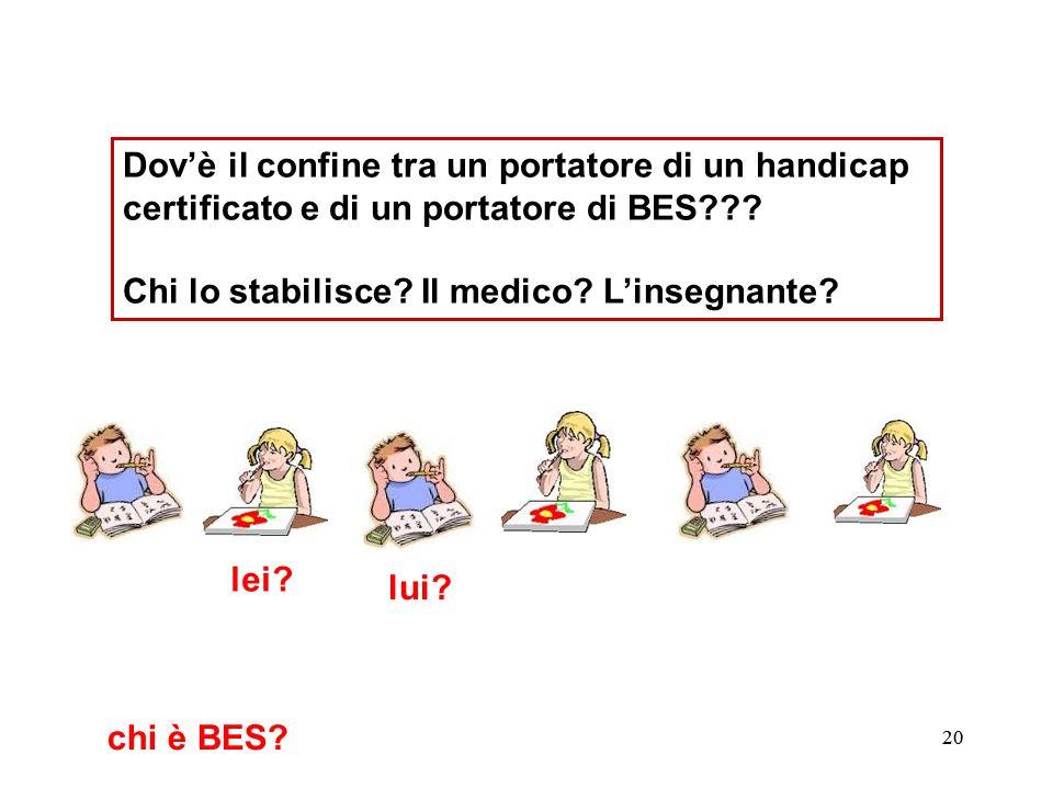 21 Dovè il confine tra un portatore di un handicap certificato e di un portatore di BES??.