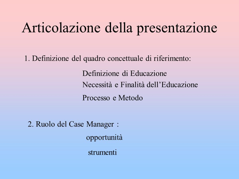Articolazione della presentazione 1.