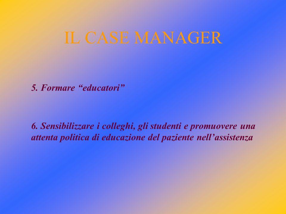 IL CASE MANAGER 5.Formare educatori 6.