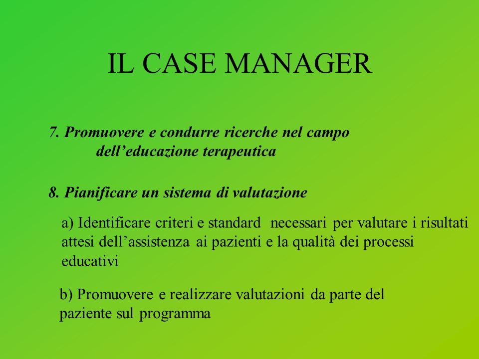 IL CASE MANAGER 7.Promuovere e condurre ricerche nel campo delleducazione terapeutica 8.