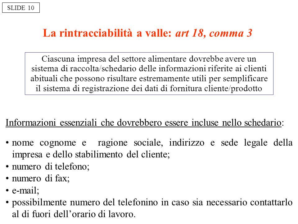 La rintracciabilità a valle: art 18, comma 3 Ciascuna impresa del settore alimentare dovrebbe avere un sistema di raccolta/schedario delle informazion