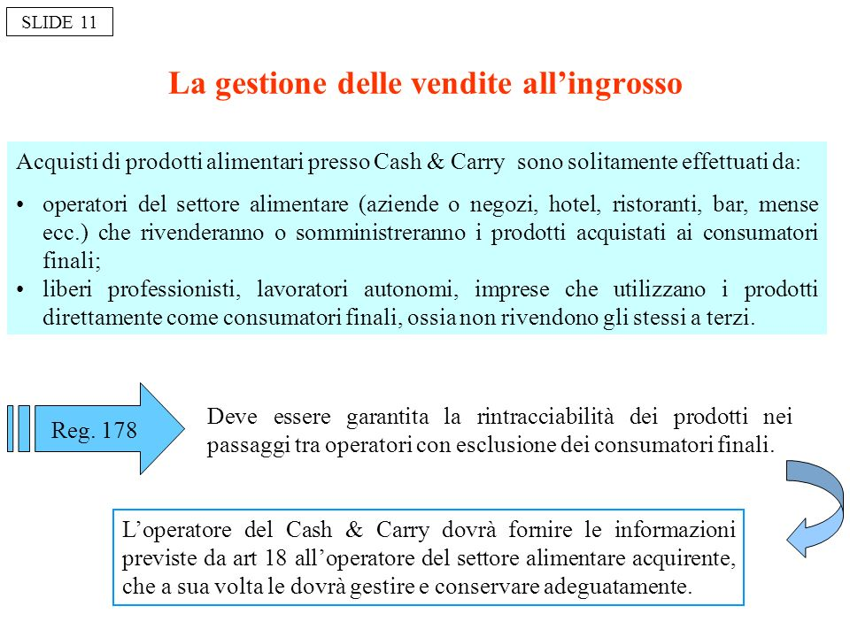 La gestione delle vendite allingrosso Acquisti di prodotti alimentari presso Cash & Carry sono solitamente effettuati da : operatori del settore alime