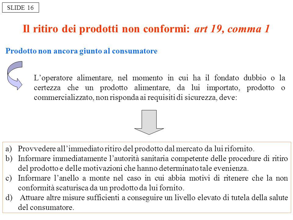 Il ritiro dei prodotti non conformi: art 19, comma 1 Prodotto non ancora giunto al consumatore Loperatore alimentare, nel momento in cui ha il fondato
