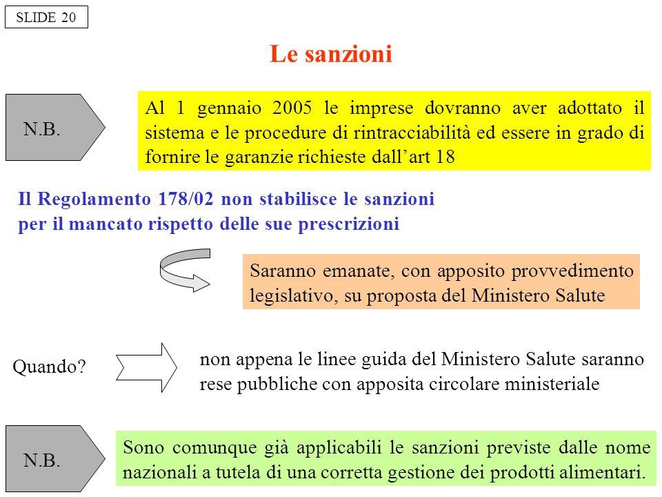 Le sanzioni Il Regolamento 178/02 non stabilisce le sanzioni per il mancato rispetto delle sue prescrizioni non appena le linee guida del Ministero Sa