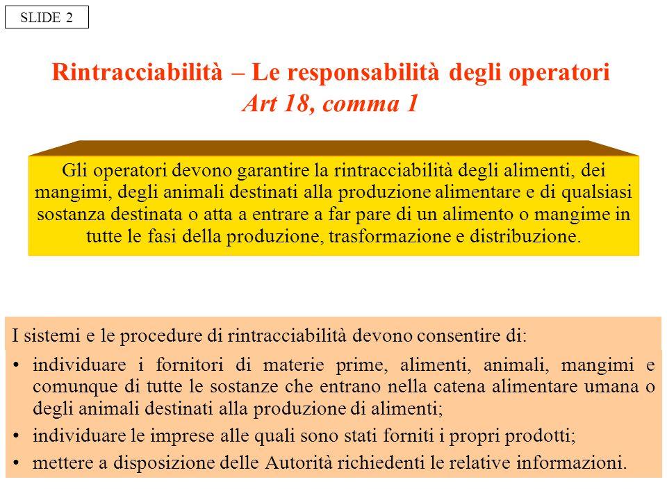 Rintracciabilità – Le responsabilità degli operatori Art 18, comma 1 Gli operatori devono garantire la rintracciabilità degli alimenti, dei mangimi, d
