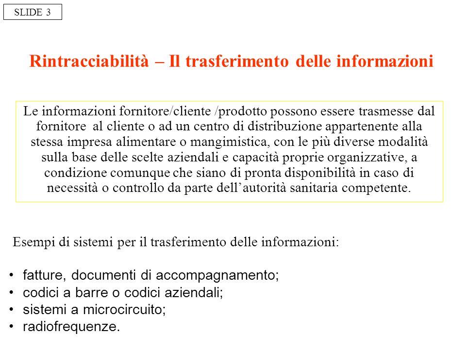 Rintracciabilità – Il trasferimento delle informazioni Le informazioni fornitore/cliente /prodotto possono essere trasmesse dal fornitore al cliente o