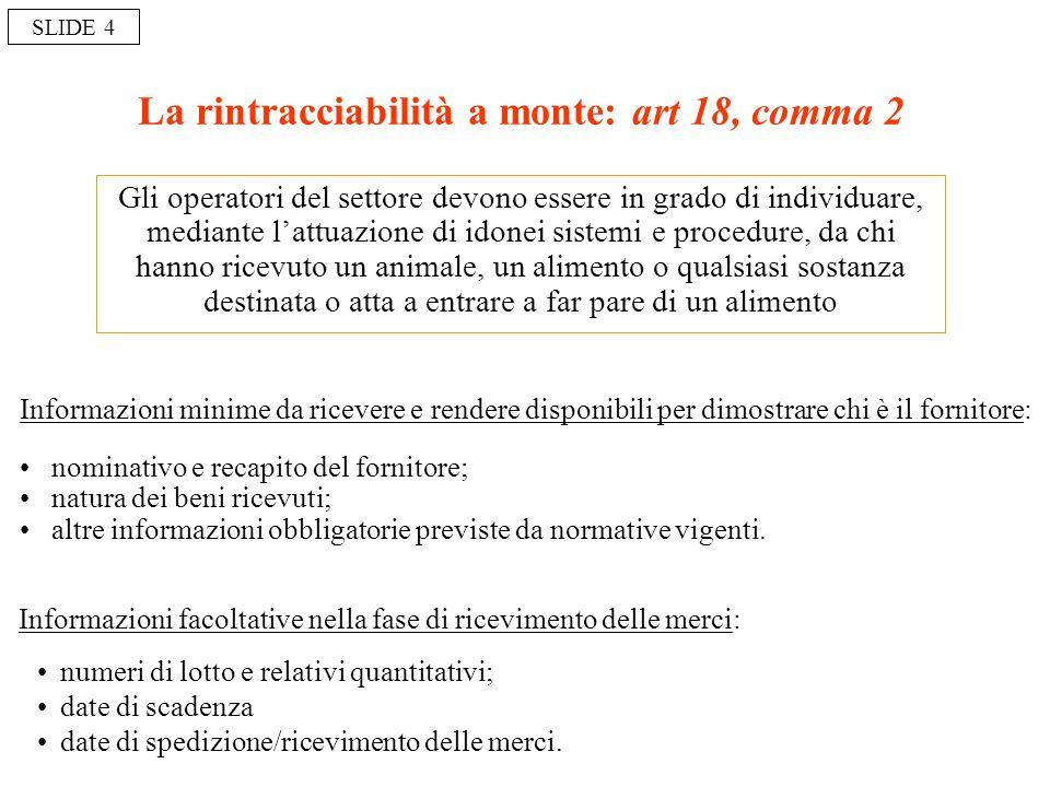 La rintracciabilità a monte: art 18, comma 2 Gli operatori del settore devono essere in grado di individuare, mediante lattuazione di idonei sistemi e