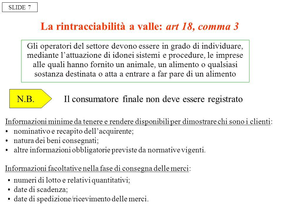 La rintracciabilità a valle: art 18, comma 3 Gli operatori del settore devono essere in grado di individuare, mediante lattuazione di idonei sistemi e