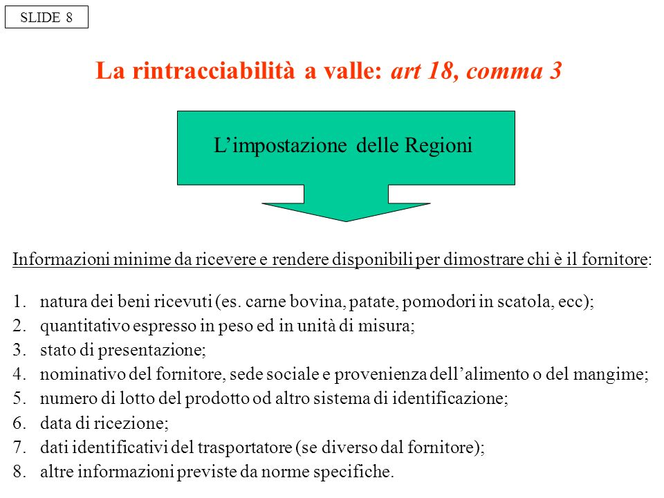 La rintracciabilità a valle: art 18, comma 3 1.natura dei beni ricevuti (es. carne bovina, patate, pomodori in scatola, ecc); 2.quantitativo espresso