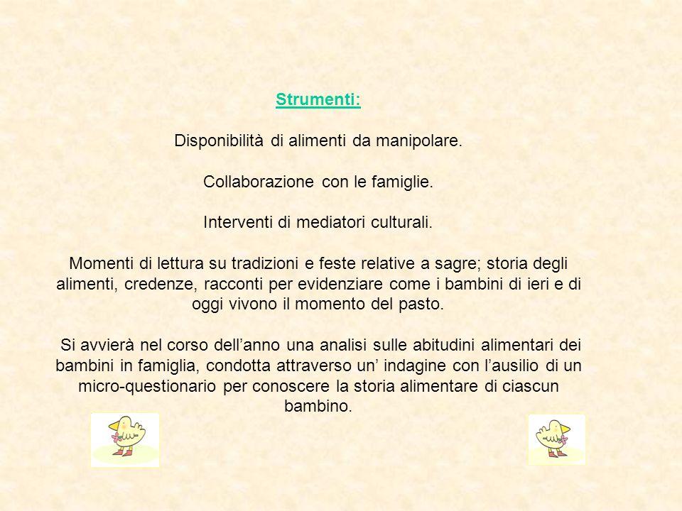 Strumenti: Disponibilità di alimenti da manipolare. Collaborazione con le famiglie. Interventi di mediatori culturali. Momenti di lettura su tradizion