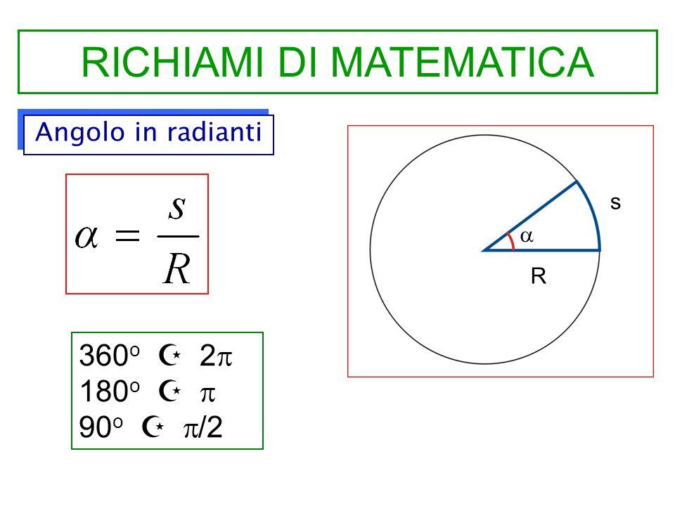 RICHIAMI DI MATEMATICA Angolo in radianti s R 360 o 2 180 o 90 o /2