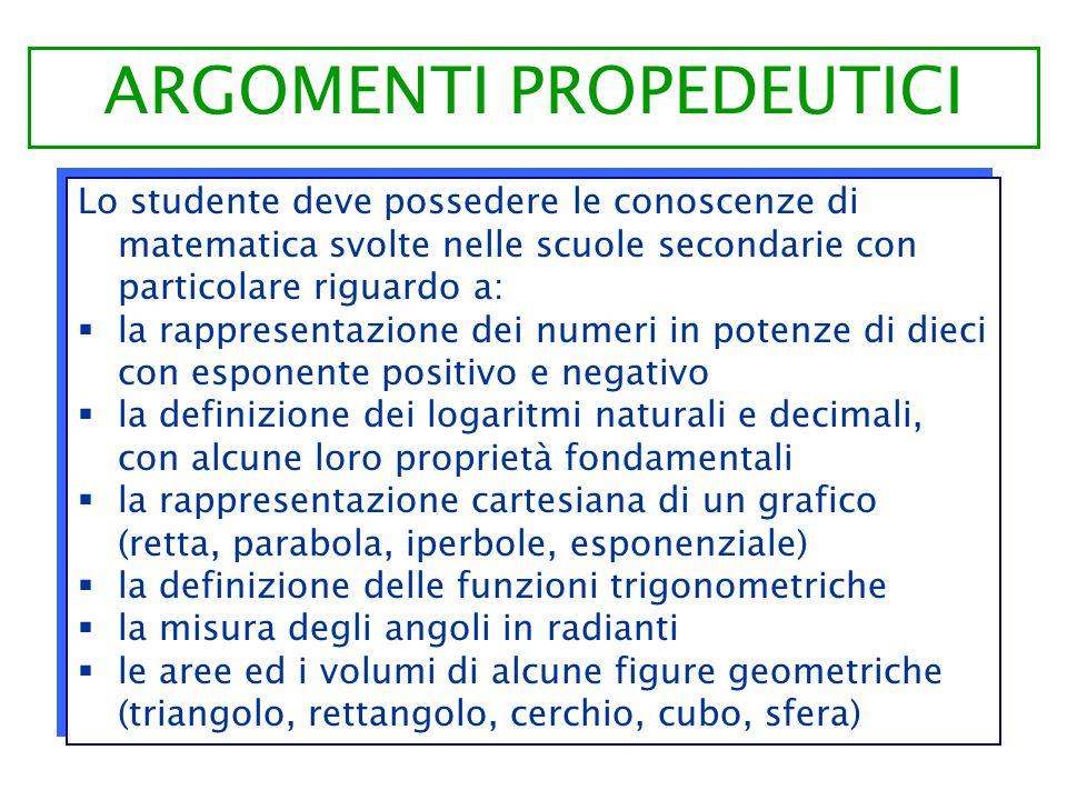 Lo studente deve possedere le conoscenze di matematica svolte nelle scuole secondarie con particolare riguardo a: la rappresentazione dei numeri in po