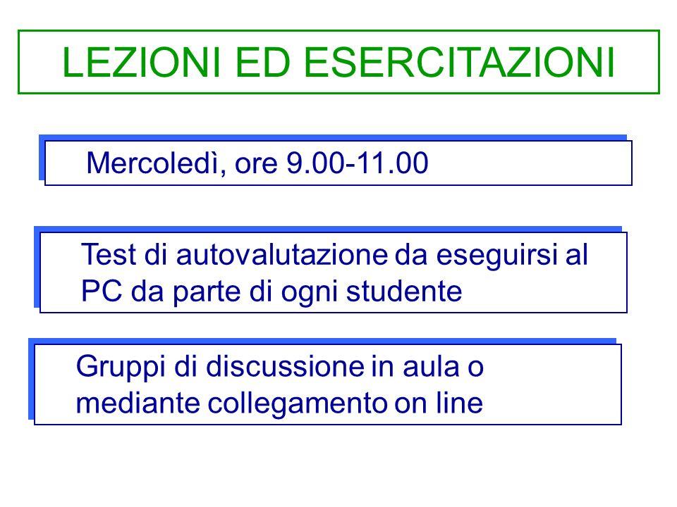 Mercoledì, ore 9.00-11.00 LEZIONI ED ESERCITAZIONI Test di autovalutazione da eseguirsi al PC da parte di ogni studente Gruppi di discussione in aula