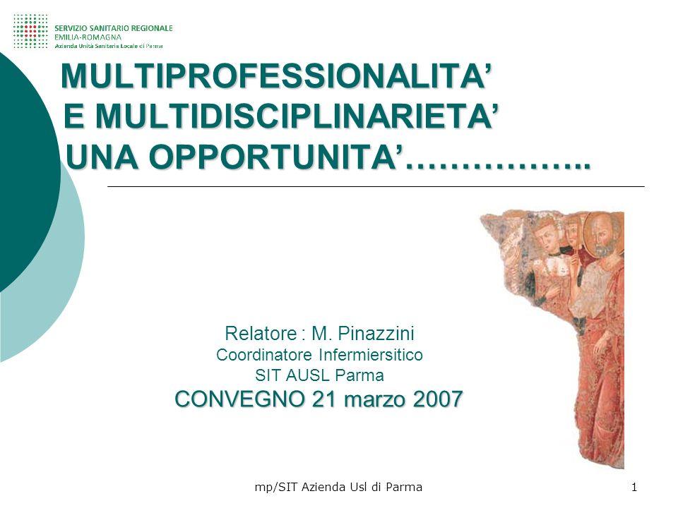 mp/SIT Azienda Usl di Parma1 MULTIPROFESSIONALITA E MULTIDISCIPLINARIETA UNA OPPORTUNITA…………….. MULTIPROFESSIONALITA E MULTIDISCIPLINARIETA UNA OPPORT