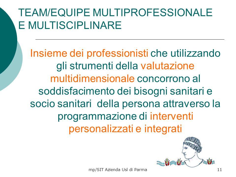 mp/SIT Azienda Usl di Parma11 Insieme dei professionisti che utilizzando gli strumenti della valutazione multidimensionale concorrono al soddisfacimen