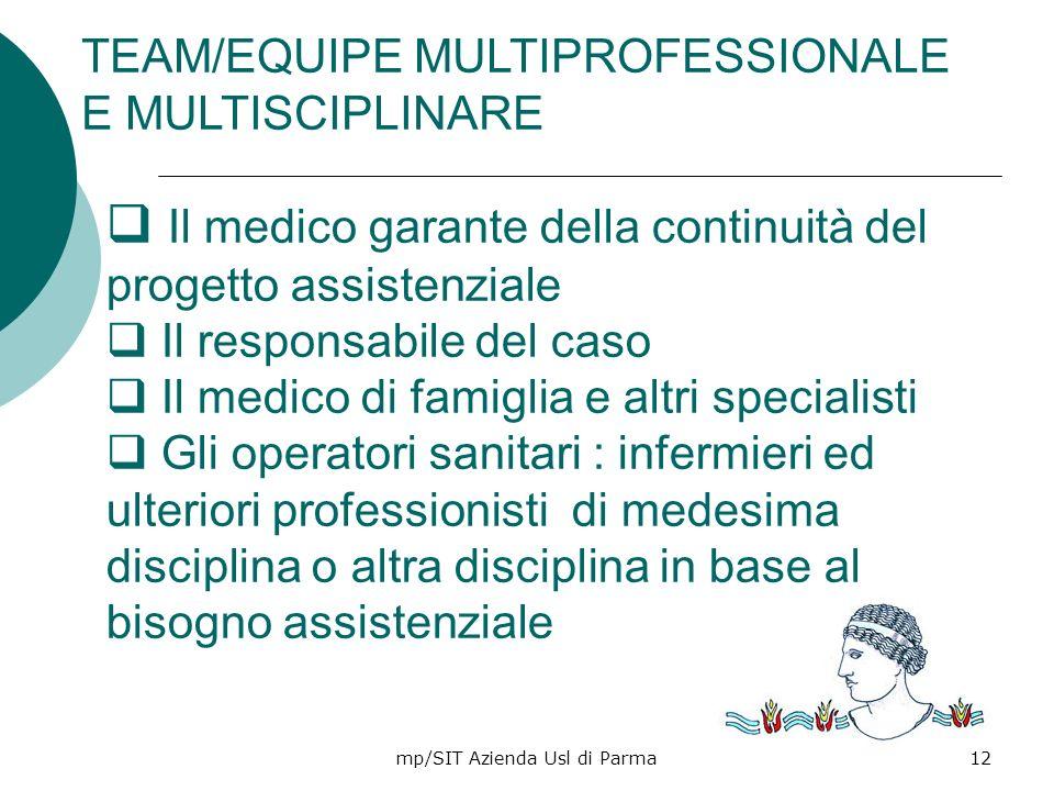 mp/SIT Azienda Usl di Parma12 TEAM/EQUIPE MULTIPROFESSIONALE E MULTISCIPLINARE Il medico garante della continuità del progetto assistenziale Il respon