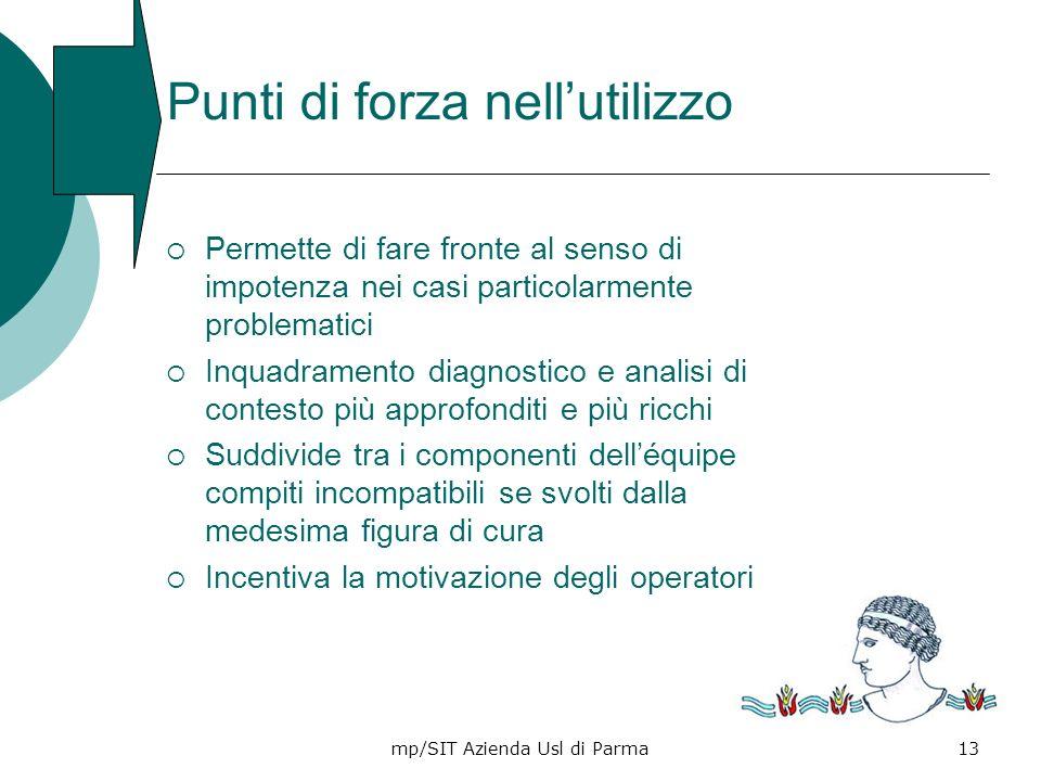 mp/SIT Azienda Usl di Parma13 Punti di forza nellutilizzo Permette di fare fronte al senso di impotenza nei casi particolarmente problematici Inquadra