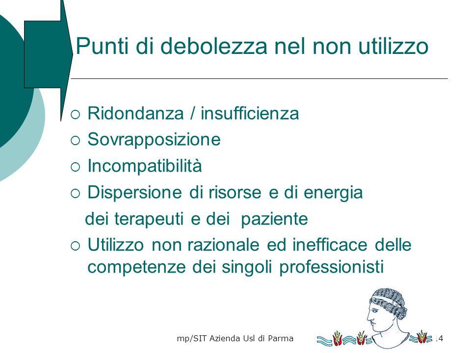 mp/SIT Azienda Usl di Parma14 Punti di debolezza nel non utilizzo Ridondanza / insufficienza Sovrapposizione Incompatibilità Dispersione di risorse e