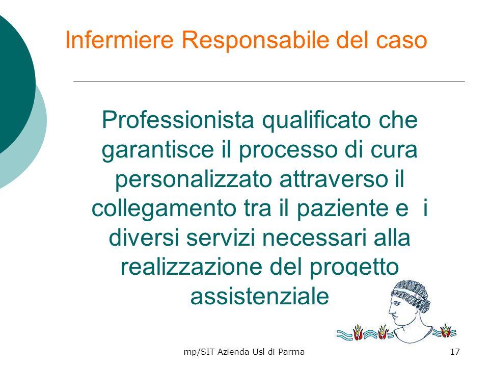 mp/SIT Azienda Usl di Parma17 Infermiere Responsabile del caso Professionista qualificato che garantisce il processo di cura personalizzato attraverso