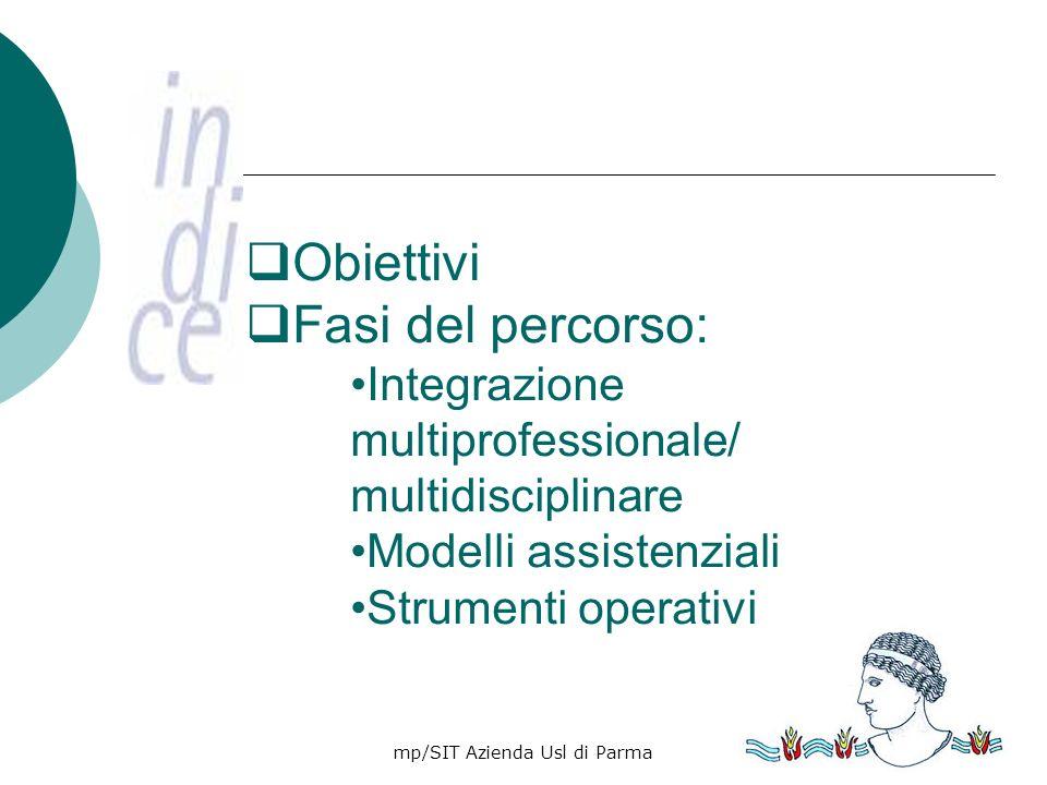 mp/SIT Azienda Usl di Parma3 OBIETTIVI Forte orientamento al paziente Coordinamento degli interventi Flessibilità ed adattabilità al cambiamento e innovazione Giotto- Sogno di Innocenzo III