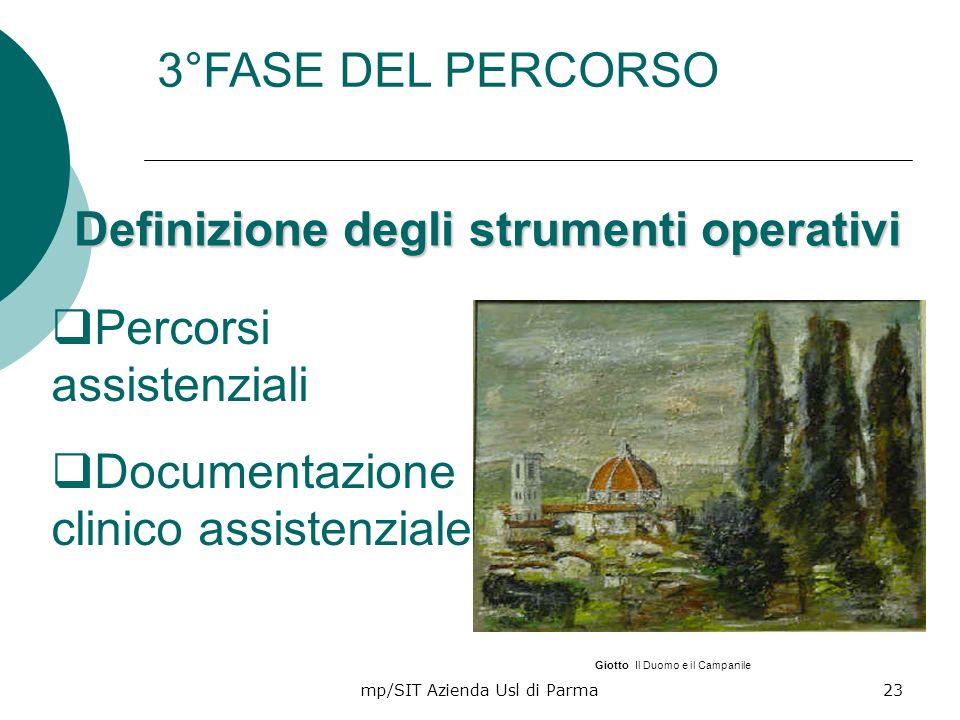 mp/SIT Azienda Usl di Parma23 Definizione degli strumenti operativi Percorsi assistenziali Documentazione clinico assistenziale 3°FASE DEL PERCORSO Gi