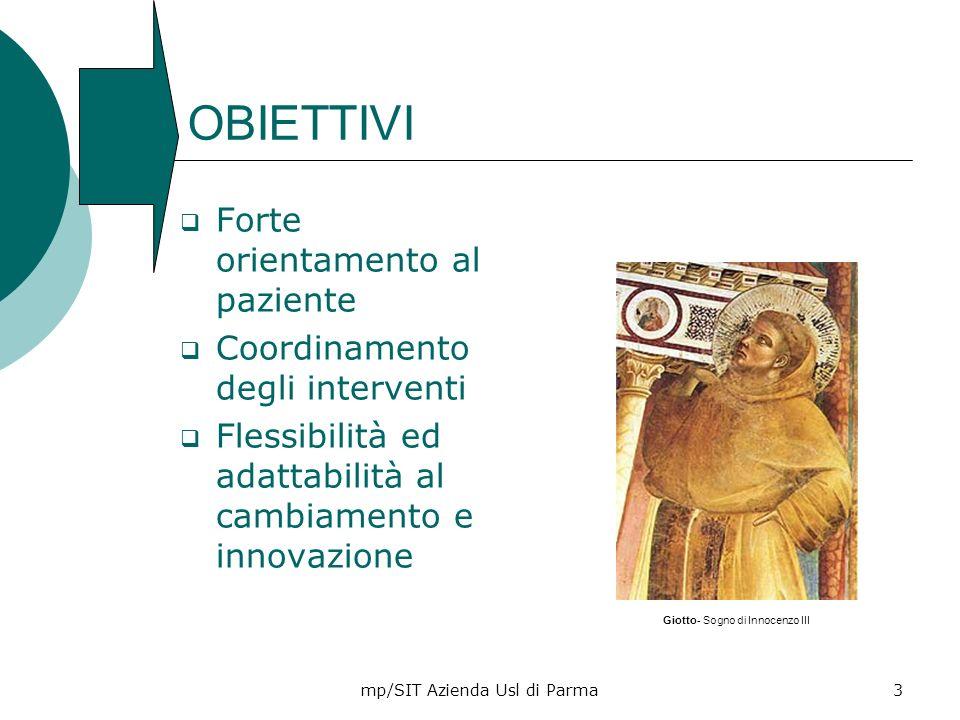 mp/SIT Azienda Usl di Parma3 OBIETTIVI Forte orientamento al paziente Coordinamento degli interventi Flessibilità ed adattabilità al cambiamento e inn
