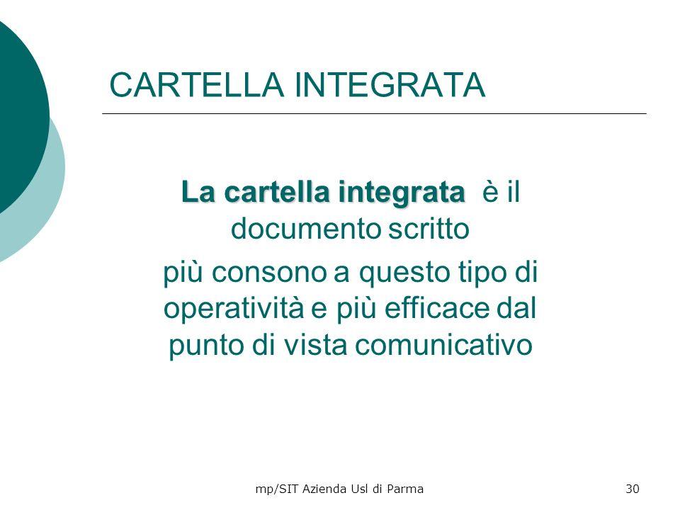 mp/SIT Azienda Usl di Parma30 CARTELLA INTEGRATA La cartella integrata La cartella integrata è il documento scritto più consono a questo tipo di opera