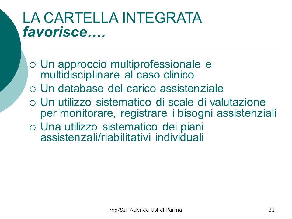 mp/SIT Azienda Usl di Parma31 Un approccio multiprofessionale e multidisciplinare al caso clinico Un database del carico assistenziale Un utilizzo sis