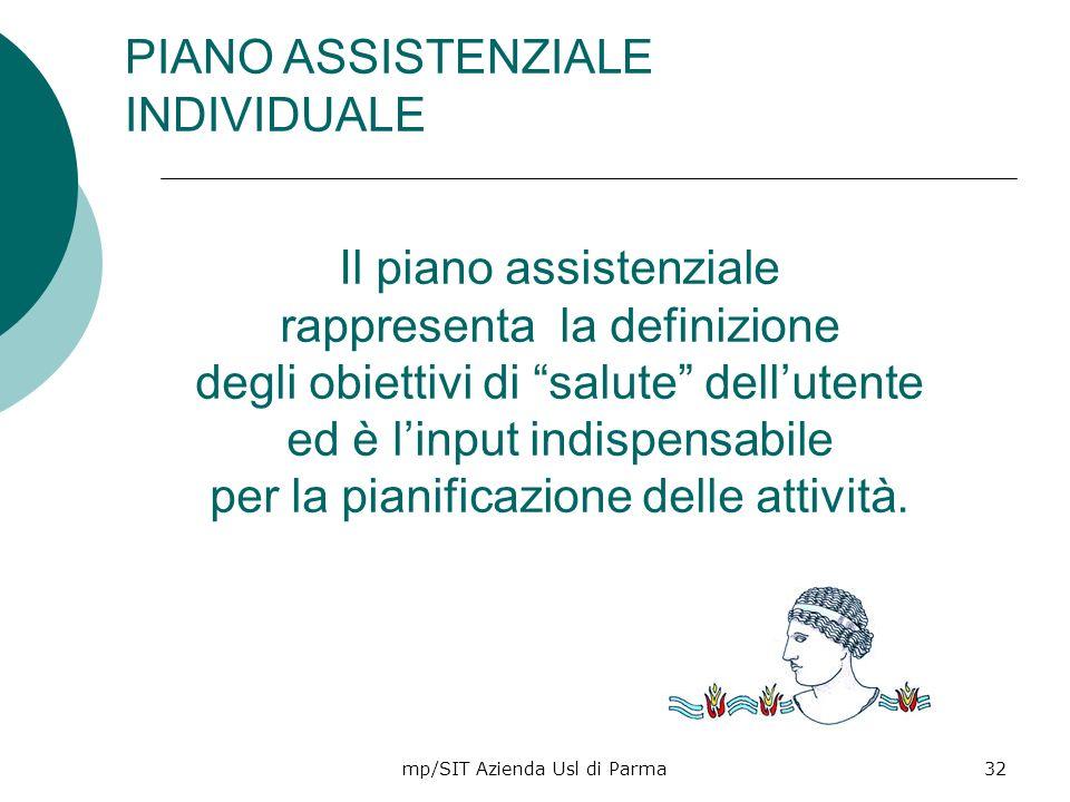 mp/SIT Azienda Usl di Parma32 Il piano assistenziale rappresenta la definizione degli obiettivi di salute dellutente ed è linput indispensabile per la
