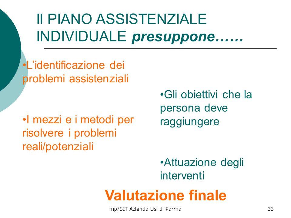 mp/SIT Azienda Usl di Parma33 Lidentificazione dei problemi assistenziali I mezzi e i metodi per risolvere i problemi reali/potenziali Gli obiettivi c
