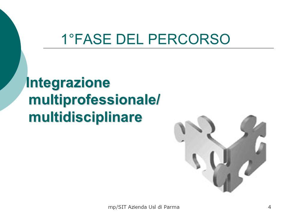 mp/SIT Azienda Usl di Parma4 1°FASE DEL PERCORSO Integrazione multiprofessionale/ multidisciplinare