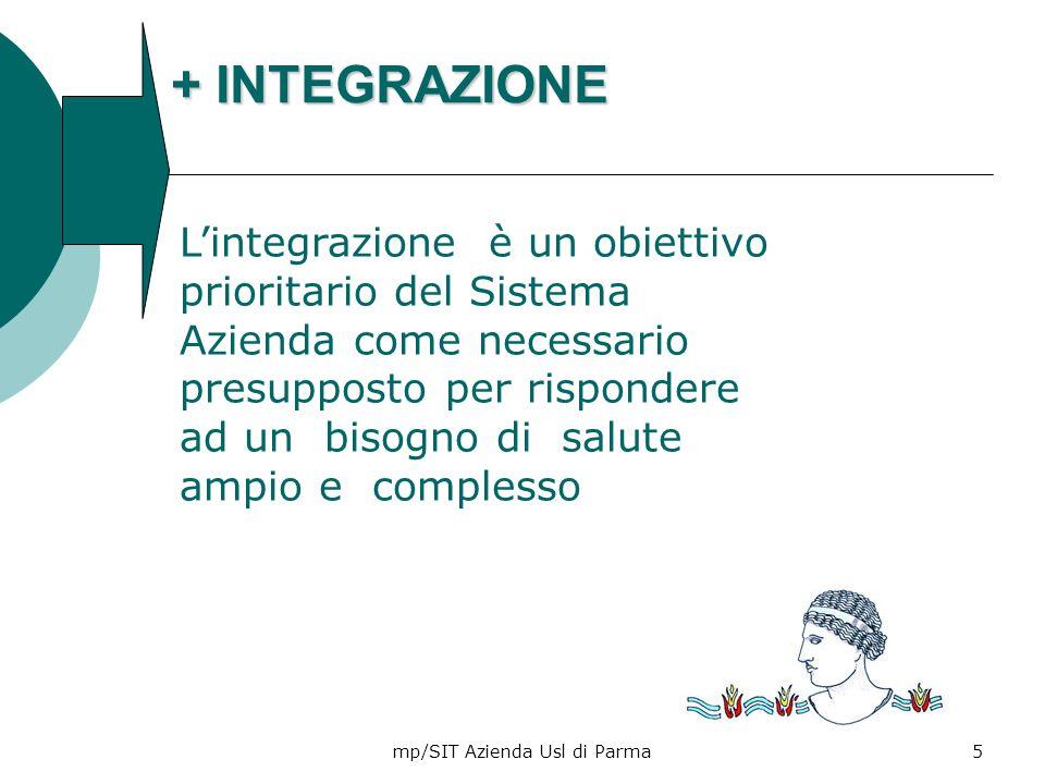mp/SIT Azienda Usl di Parma6 + INTEGRAZIONE + VALORE La creazione del valore è la capacità di offrire al destinatario delloutput un beneficio superiore dovuto allinsieme dei servizi/ funzioni/ attività impiegati.