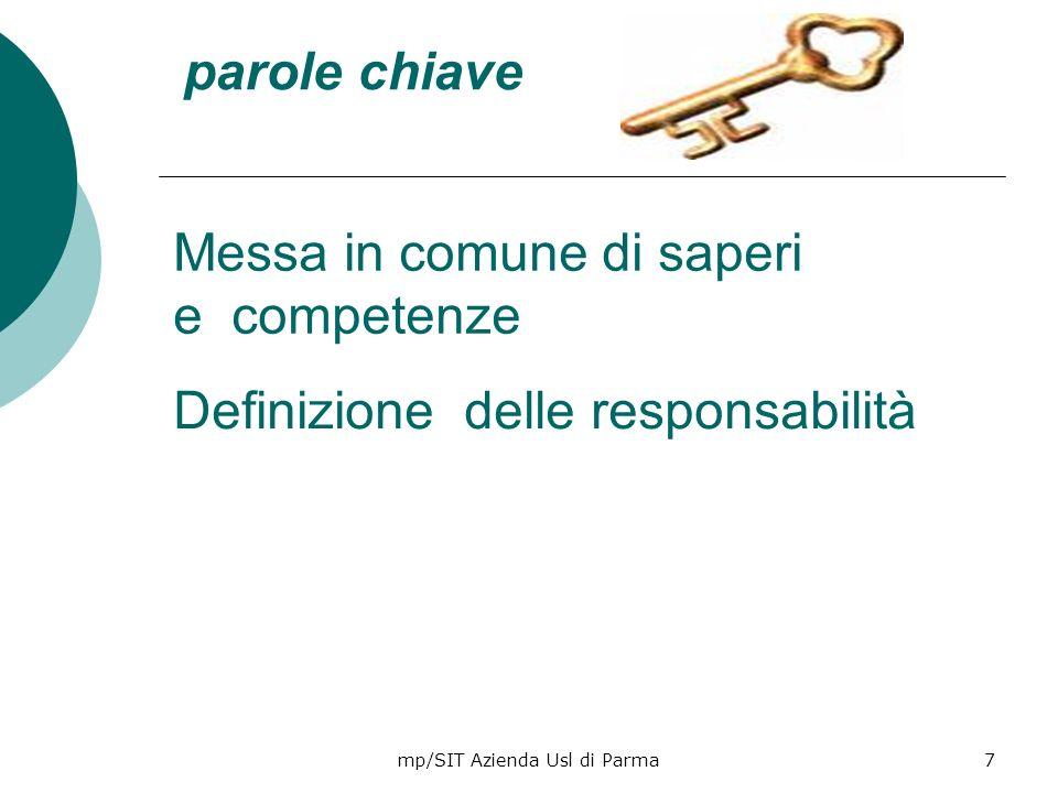 mp/SIT Azienda Usl di Parma7 Messa in comune di saperi e competenze parole chiave Definizione delle responsabilità