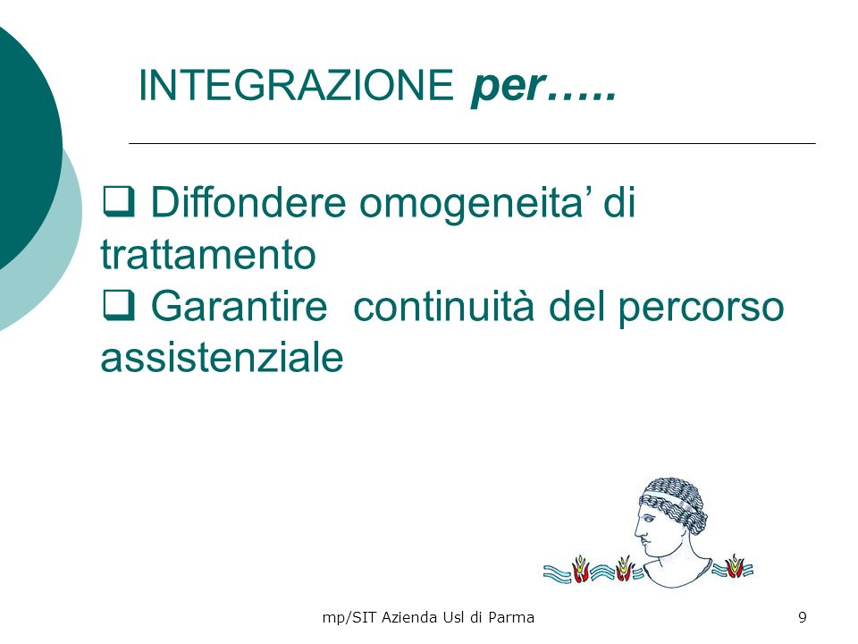 mp/SIT Azienda Usl di Parma20 Limpatto dei modelli assistenziali di presa in carico Riduzione delle complicanze Riduzione riammissioni ospedaliere Soddisfazione del paziente Soddisfazione degli operatori PRESA IN CARICO