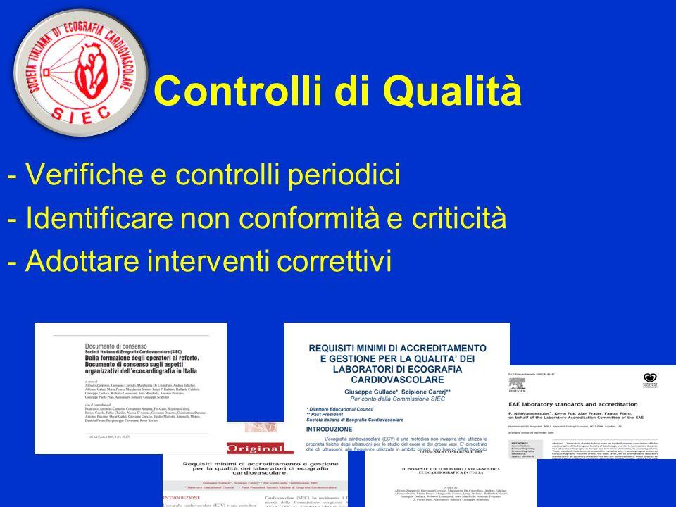 Controlli di Qualità - Verifiche e controlli periodici - Identificare non conformità e criticità - Adottare interventi correttivi