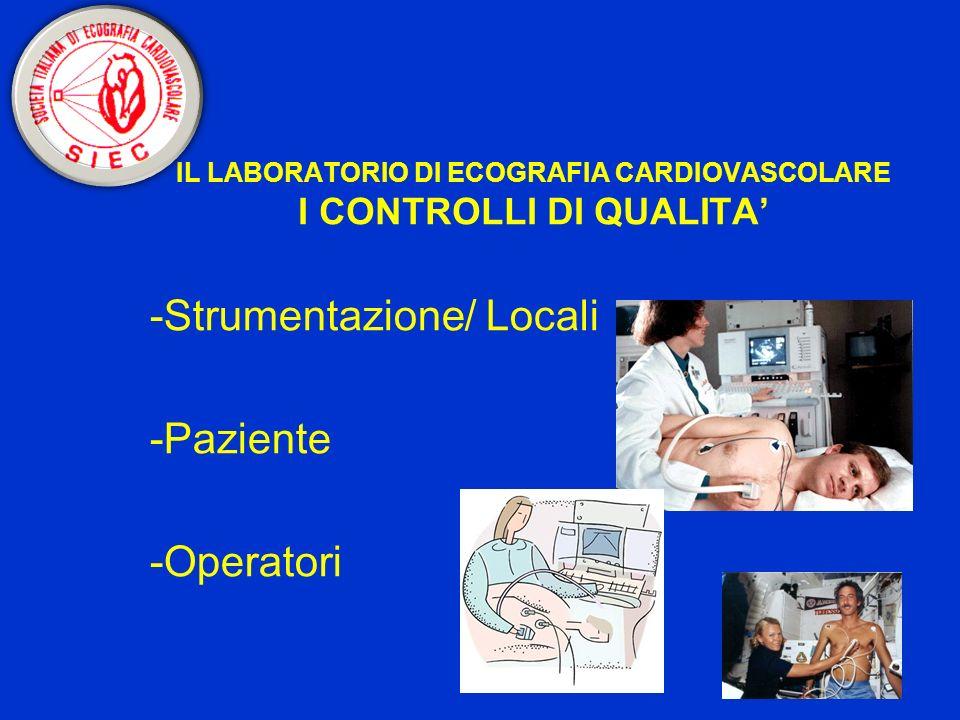 IL LABORATORIO DI ECOGRAFIA CARDIOVASCOLARE I CONTROLLI DI QUALITA -Strumentazione/ Locali -Paziente -Operatori
