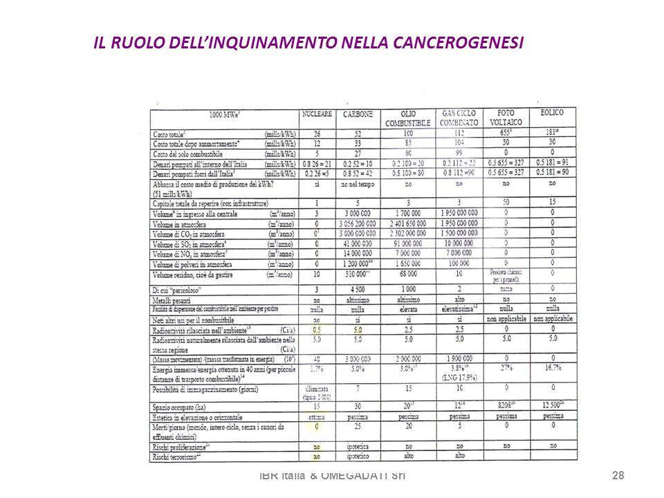 IL RUOLO DELLINQUINAMENTO NELLA CANCEROGENESI IBR Italia & OMEGADATI Srl28