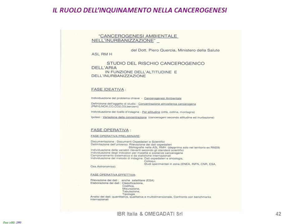 IL RUOLO DELLINQUINAMENTO NELLA CANCEROGENESI IBR Italia & OMEGADATI Srl42 Fssa: irHO. 1990 1