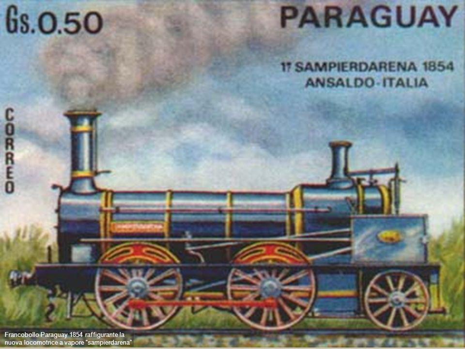 13 - Ansaldo sampierdarena Francobollo Paraguay 1854 raffigurante la nuova locomotrice a vapore sampierdarena