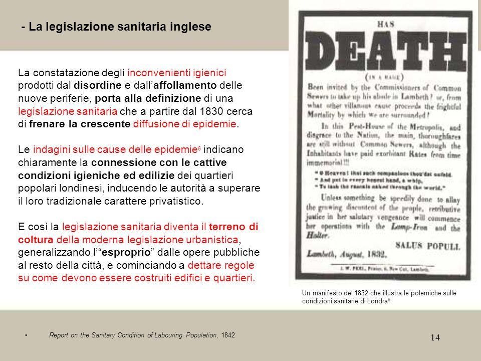 14 - La legislazione sanitaria inglese La constatazione degli inconvenienti igienici prodotti dal disordine e dallaffollamento delle nuove periferie,
