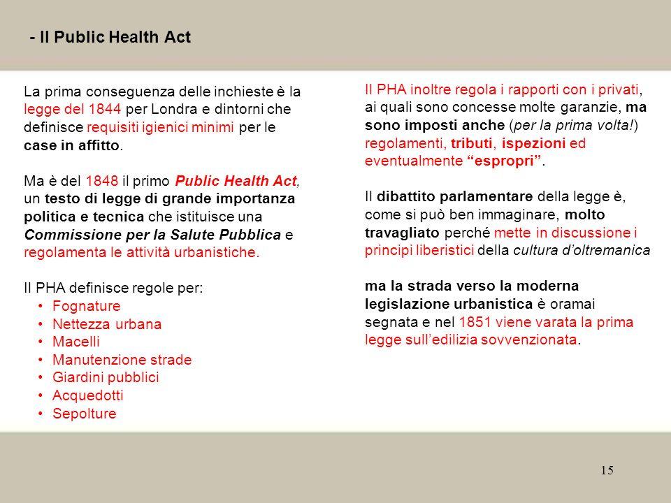 15 - Il Public Health Act La prima conseguenza delle inchieste è la legge del 1844 per Londra e dintorni che definisce requisiti igienici minimi per l