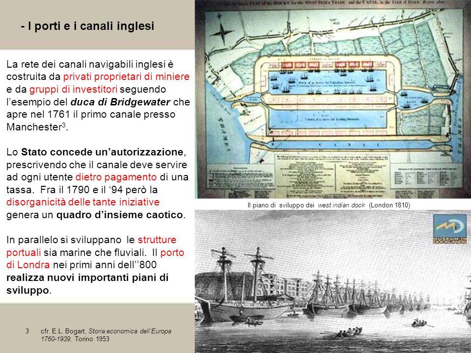 5 - I porti e i canali inglesi La rete dei canali navigabili inglesi è costruita da privati proprietari di miniere e da gruppi di investitori seguendo